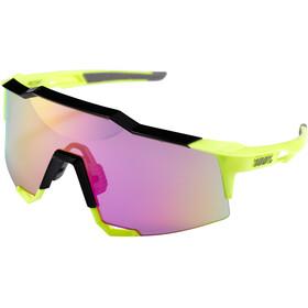 100% Speedcraft Mirror Glasses Tall polished black/fluo yellow